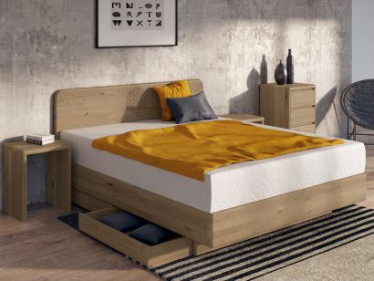 "Boxspringbett ""Berlin"" in Wildeiche mit Gravur"